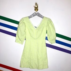 NEW Urban Outfitters lime gingham dress